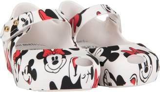Melissa White Girl Ballerina Flats With Mickey And Minnie Mouse