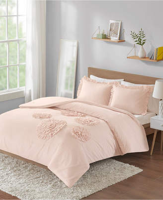 Intelligent Design Ella Full/Queen Solid Ruffle Floral 3 Piece Comforter Mini Set Bedding