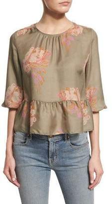 The Great The Honey Floral-Print Peplum Shirt, Army Rose