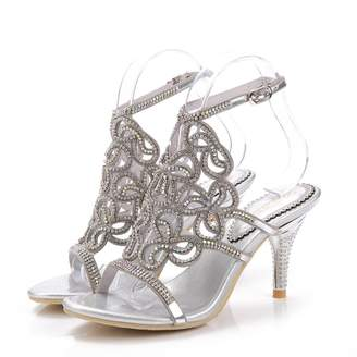 Monie Women's Stiletto Handmade Wedding Heels Rhinestone Bridal Sandals 10.5-11B US