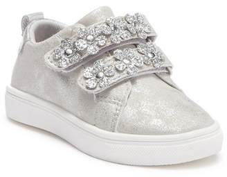 Nicole Miller Glitter Flower Applique Hook-and-Loop Sneaker (Toddler)