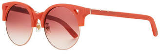 E.m. Pared Eyewear Up & At Semi-Rimless Round Sunglasses, Coral