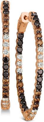 LeVian Le Vian Chocolate Layer Cake Blackberry Diamonds, Chocolate Diamonds & Nude Diamonds In & Out Hoop Earrings (2-9/10 ct. t.w.) in 14k Rose Gold