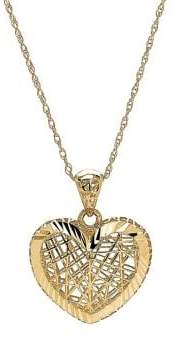 Lord & Taylor 14K Yellow Gold 3D Border Heart Pendant Necklace
