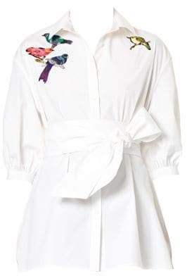 Carolina Herrera Bird-Embroidered Tie-Waist Blouse