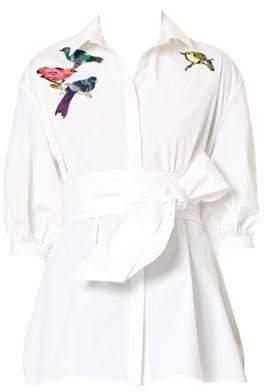 Carolina Herrera Bird-Embroidered Tie-Waist Blouse