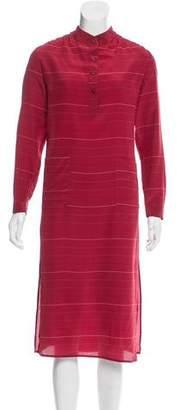 Tucker Silk Striped Dress