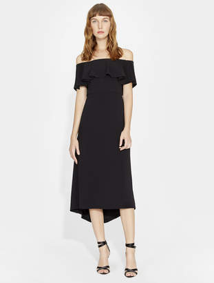 Halston OFF SHOULDER FLOUNCE DETAIL CREPE DRESS
