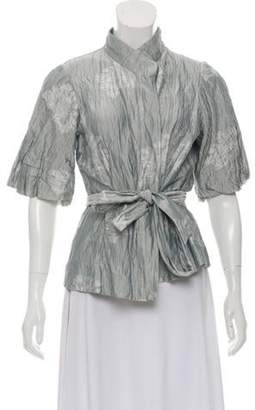 Armani Collezioni Ruched Floral Wrap Top Grey Ruched Floral Wrap Top