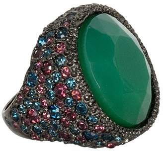 Kenneth Jay Lane Sapphire And Apple Jade Ring
