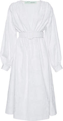 Off-White Belted Cotton-Poplin Midi Dress