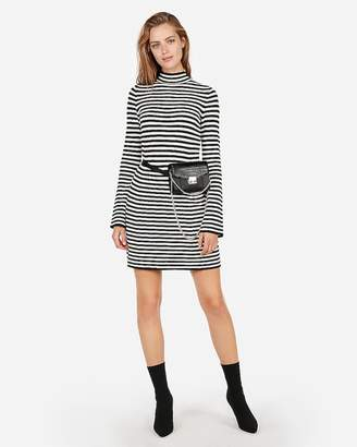 Express Striped Ribbed Mock Neck Dress