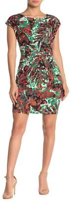 Collective Concepts Side Gather Patterned Mini Dress