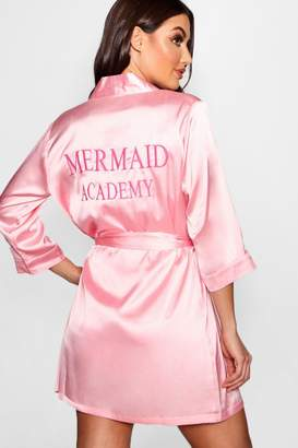 boohoo Mermaid Academy Embroidered Robe