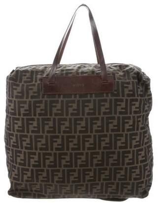 Fendi Zucca Leather-Trimmed Bag silver Zucca Leather-Trimmed Bag