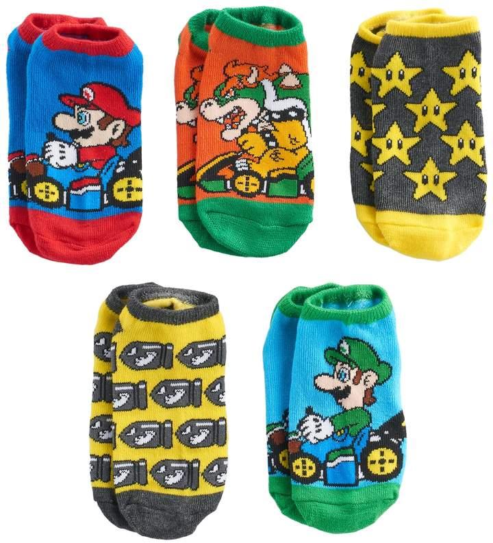 Boys 4-20 Super Mario Bros. 5-Pack No-Show Socks