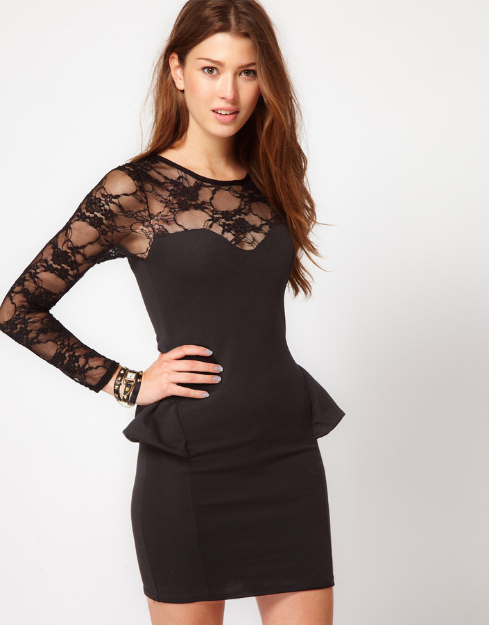 Club L Peplum Dress With Lace Sleeve
