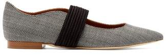 Malone Souliers Martina Braided Strap Herringbone Flats - Womens - Grey