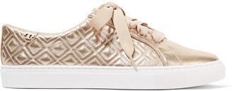 Tory Burch Marion quilted metallic leather sneakers $195 thestylecure.com