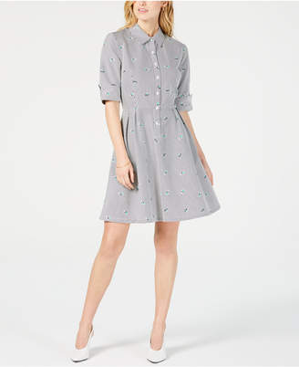 Maison Jules Striped Fit & Flare Shirtdress