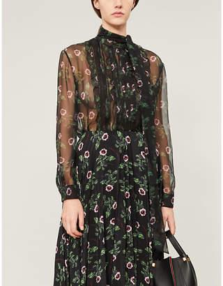 Valentino High-neck ruffled floral-print silk-chiffon shirt