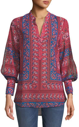 KUT from the Kloth Benica Split-Sleeve Floral-Print Boho-Inspired Blouse