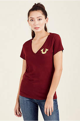 True Religion WOMENS METALLIC PUFF PRINT TEE