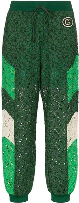 Gucci embroidered lace track pants