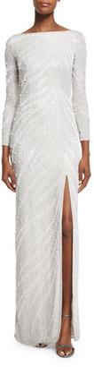 Jenny Packham Zebra-Beaded Long-Sleeve Slit Gown, Ivory $4,800 thestylecure.com