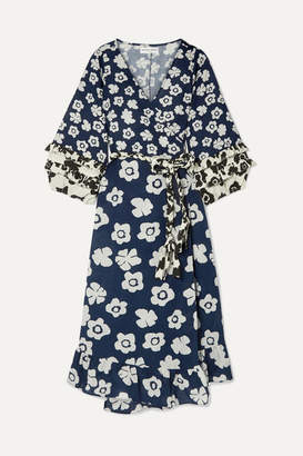 Apiece Apart Beja Ruffled Floral-print Linen And Cotton-blend Wrap Dress - Navy
