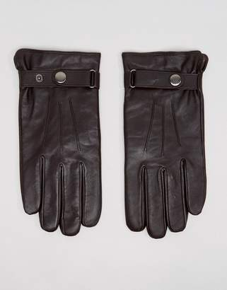 Peter Werth Classic Leather Gloves In Brown