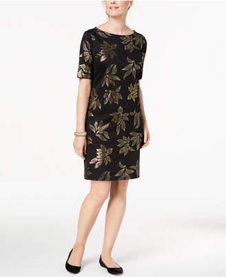 Karen Scott Petite Metallic-Print Boat-Neck Dress, Created for Macy's