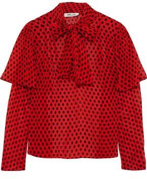 Diane von Furstenberg Pussy-bow Layered Polka-dot Silk-georgette Blouse