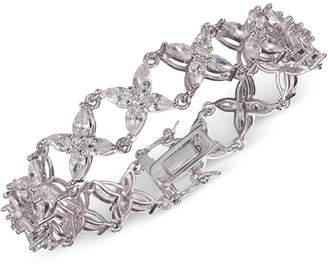 Nina Silver-Tone Crystal Flower Link Bracelet