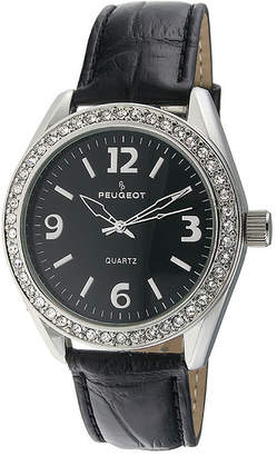 Peugeot Womens Crystal-Accent Black Leather Strap Watch