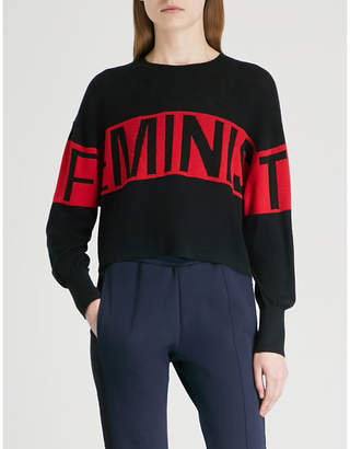 Izzue Feminist-intarsia knitted jumper