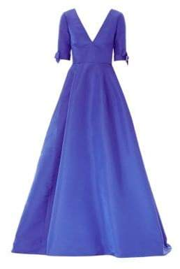 Carolina Herrera Women's Silk Bow Sleeve Ball Gown - Persian Blue - Size 4