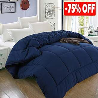 All Season Queen Goose Down Alternative Quilted Comforter with Corner Tabs - Hypoallergenic -Double Plush Fabric -Super Microfiber Fill -Machine Washable - Duvet Insert & Stand-Alone Comforter - Navy