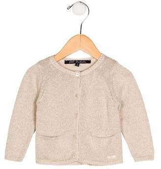 Lili Gaufrette Girls' Metallic Button-Up Cardigan