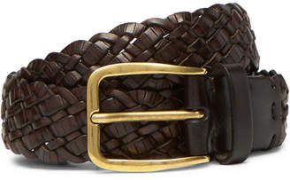 Brunello Cucinelli 3cm Dark-Brown Woven Leather Belt