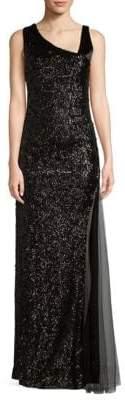 Lanvin Asymmetrical Sequin Floor-Length Gown