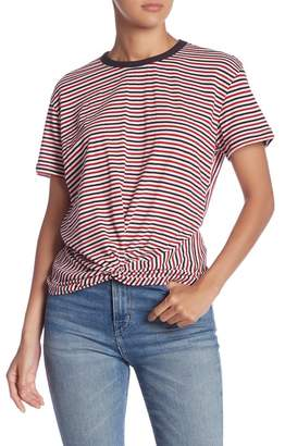 Lush Striped Short Sleeve Gather Front Tee
