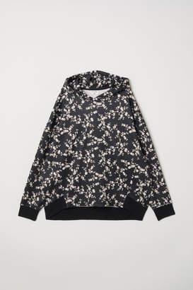 H&M Patterned Hooded Sweatshirt - Black