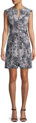 Diane von Furstenberg Printed Zip-Front Short-Sleeve Sheath Dress