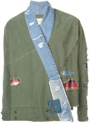 Greg Lauren distressed wrap jacket