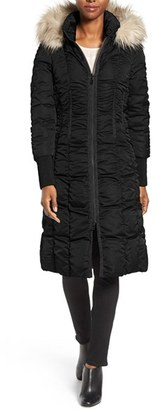 Women's Tahari Elizabeth Faux Fur Trim Hooded Long Coat $330 thestylecure.com