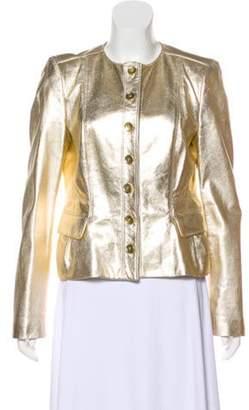 Burberry Leather Metallic Jacket Gold Leather Metallic Jacket