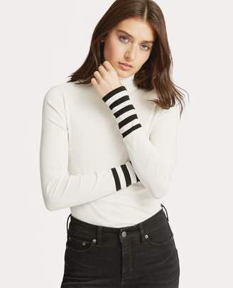 Ralph Lauren Striped-Sleeve Turtleneck