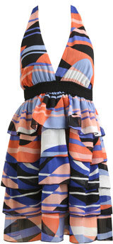 Americana Print Tiered Halter Dress