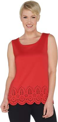 Joan Rivers Classics Collection Joan Rivers Scoop Neck Tank with Laser Cut Detail